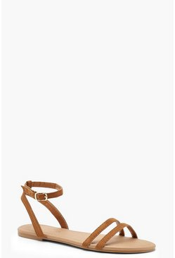 Womens Tan 2 Part Basic Flat Sandals