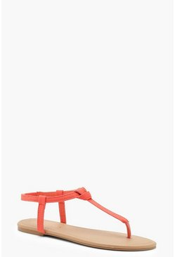 Womens Orange Basic Toe Post Sandals