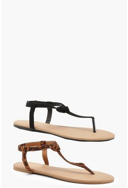 Black 2 Pack Basic Toe Post Sandals