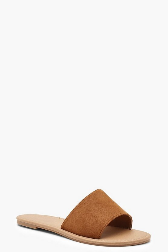 Womens Tan Basic Sliders