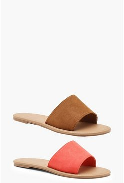 Womens Tan 2 Pack Basic Sliders