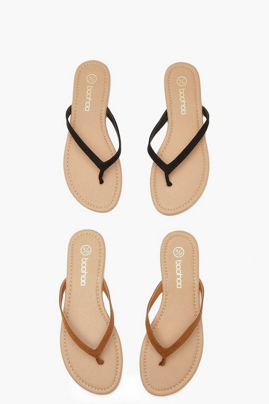 Womens Black 2 Pack Basic Flip Flops