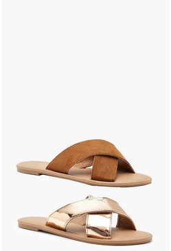 Womens Rose gold 2 Pack Cross Front Sliders