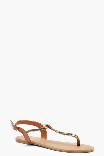 Womens Tan Metal Trim Toe Post Sandals