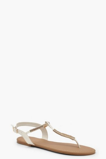 Womens White Metal Trim Toe Post Sandals