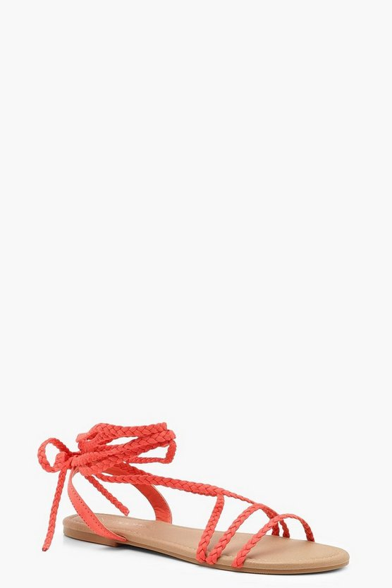 Orange Plait Wrap Strap Sandals