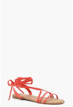 Womens Orange Plait Wrap Strap Sandals