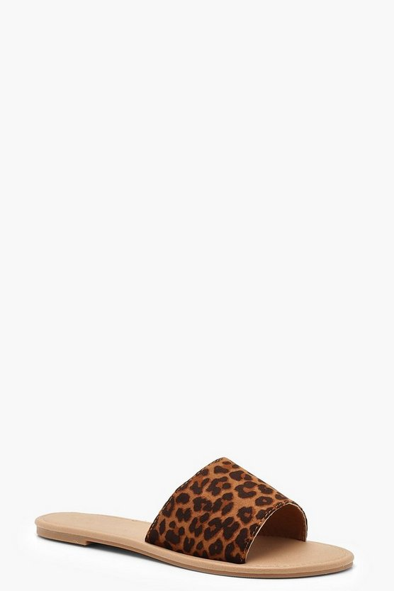 Womens Basic Leopard Sliders
