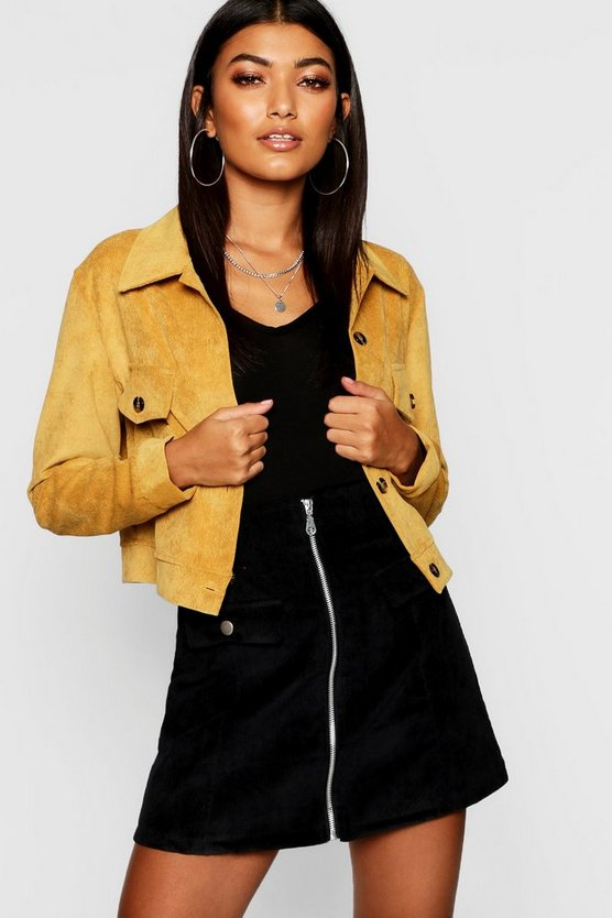 Womens Mustard Cord Trucker Jacket