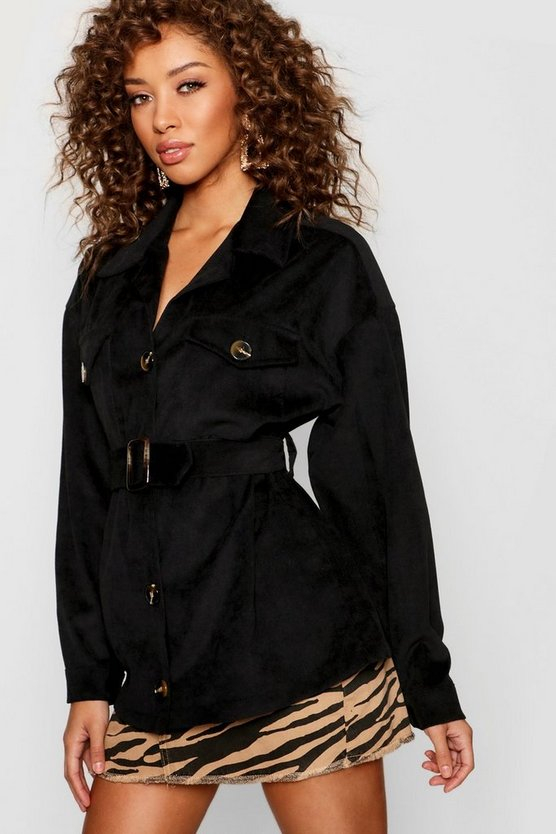 Womens Cord Utility Belted Jacket