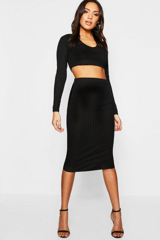 Womens Black Notched Neck Rib Top + Midi Skirt Co-Ord