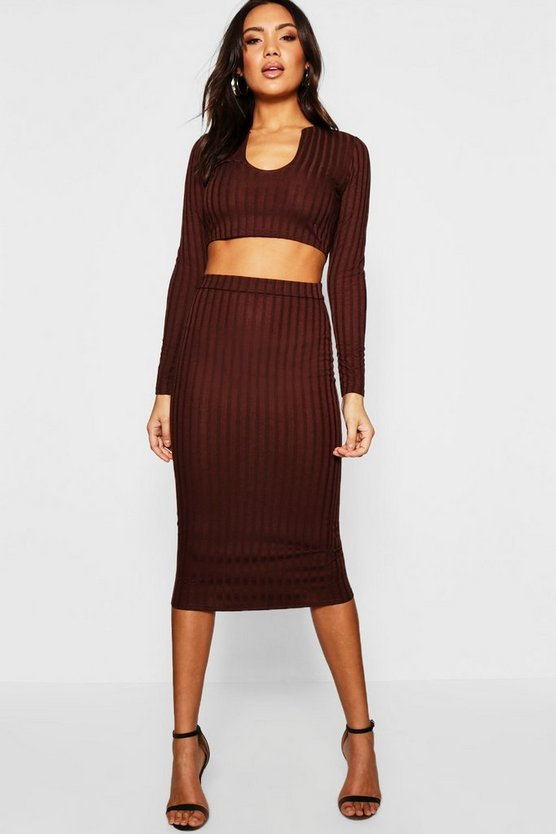 Notched Neck Rib Top + Midi Skirt Co-Ord