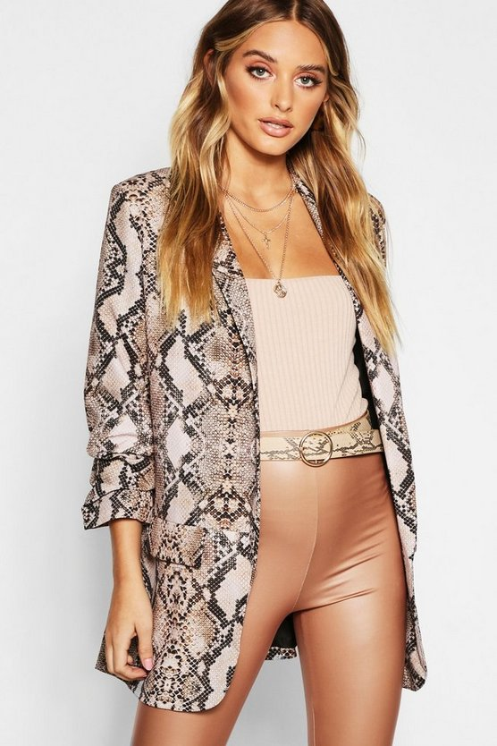 Snake Print Tailored Blazer, Tan, Женские