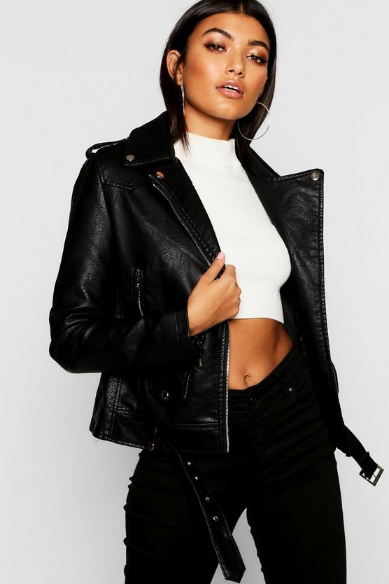 Zip Detail Biker Jacket