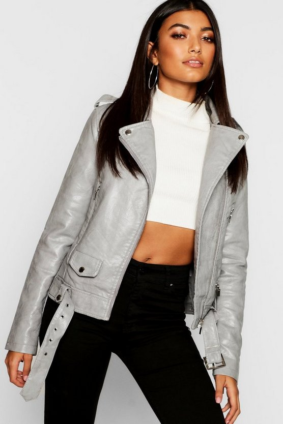 Womens Grey Zip Detail Biker Jacket