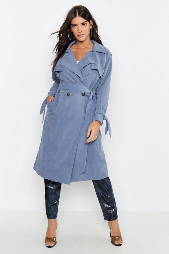 Womens Grey Suedette Belted Trench
