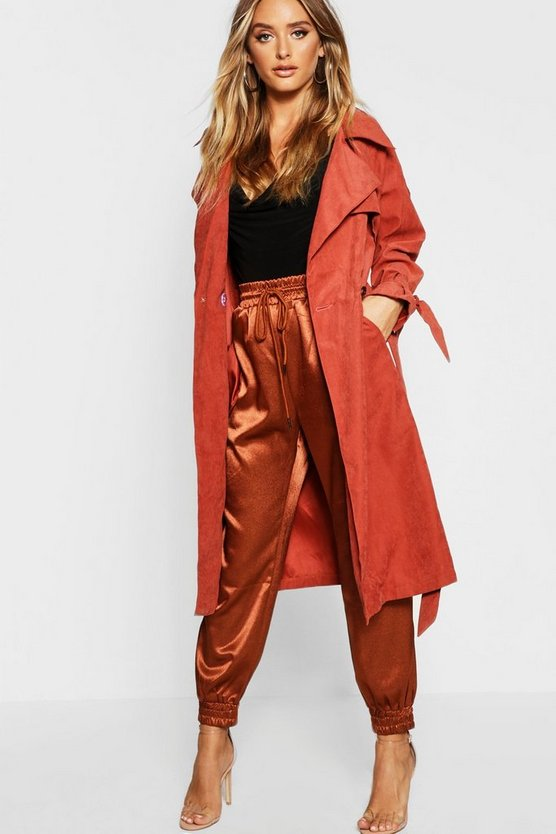 Suedette Belted Trench