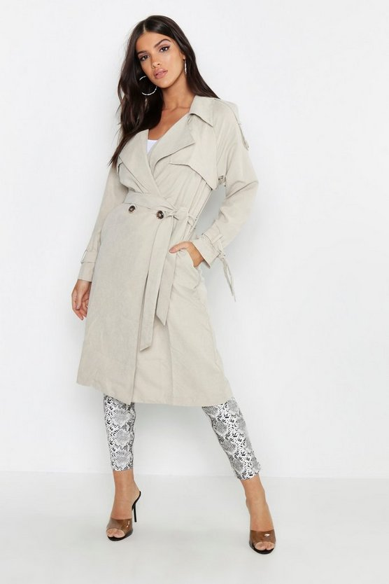 Womens Stone Suedette Belted Trench