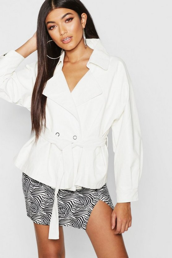 Womens White Oversized Belted Pu Jacket