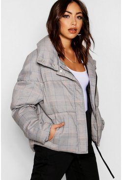 Womens Grey Check Puffer Jacket