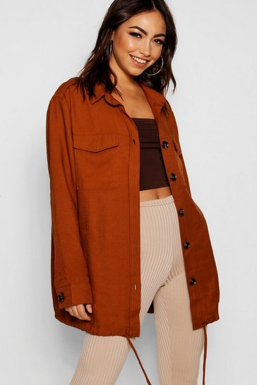 Womens Camel Oversized Utility Jacket