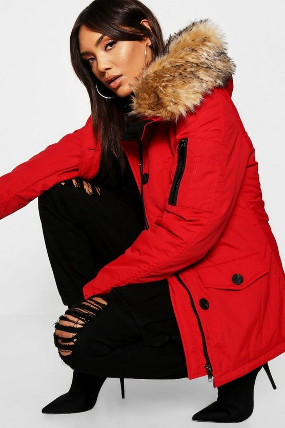 Boutique Technical Parka With Faux Fur Trim