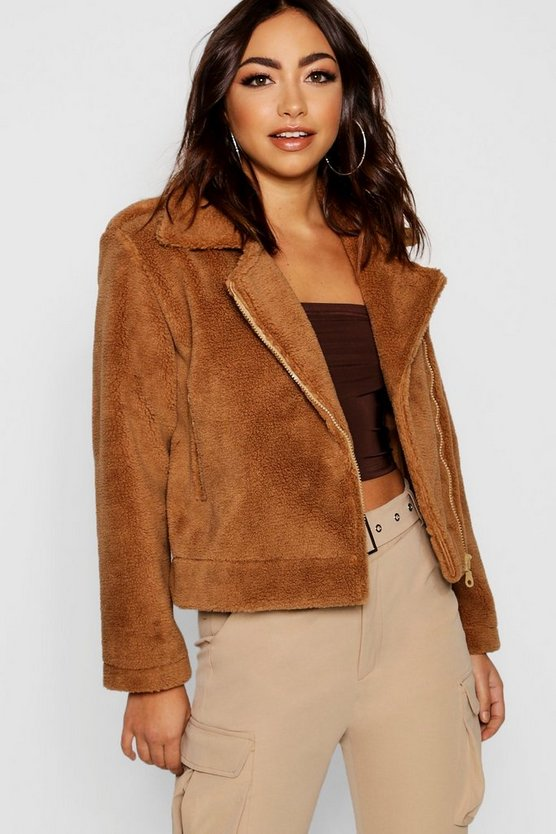 Bonded Teddy Faux Fur Aviator