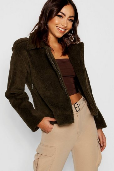Womens Khaki Bonded Teddy Faux Fur Aviator