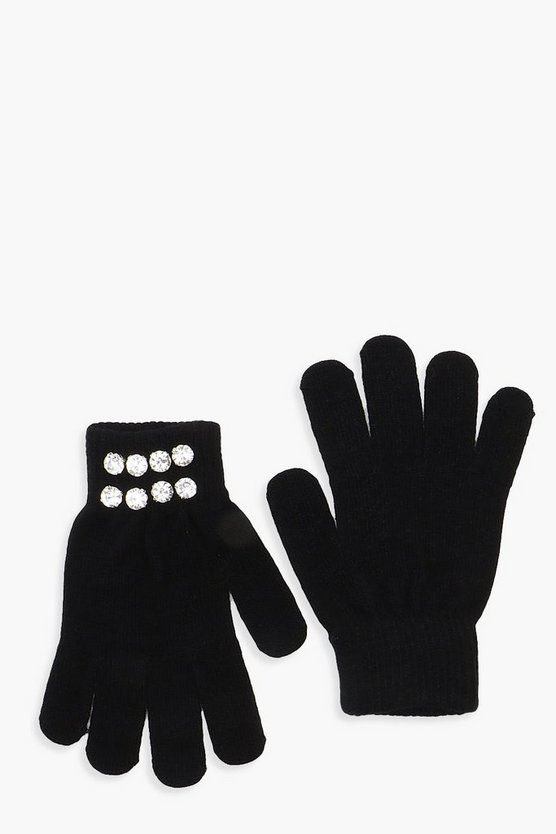 Womens Black Diamante Cuff Gloves