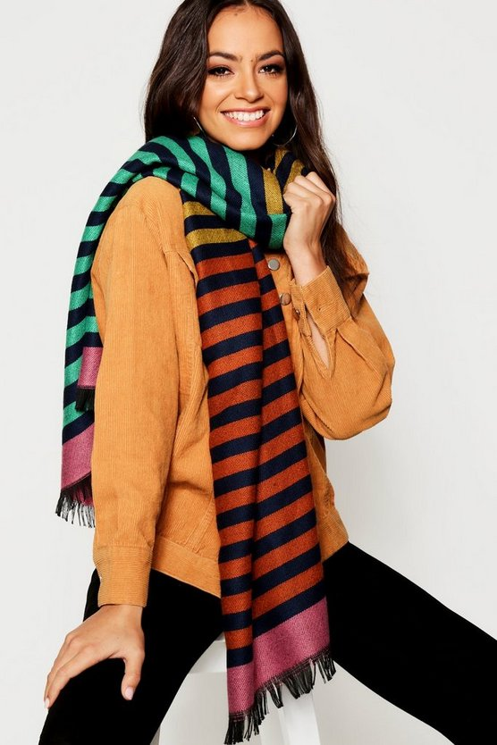 Rainbow Stripe Blanket Scarf