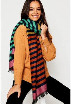 Womens Multi Rainbow Stripe Blanket Scarf