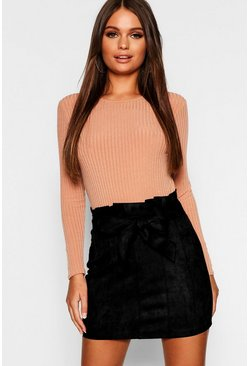 Black Paperbag Belted Suedette Micro Mini Skirt