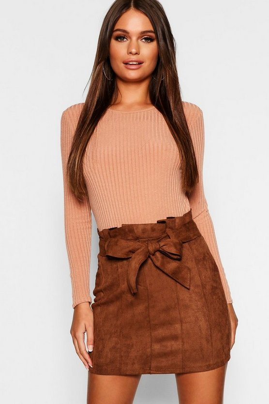 Paperbag Belted Suedette Micro Mini Skirt