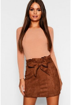 Womens Chocolate Paperbag Belted Suedette Micro Mini Skirt