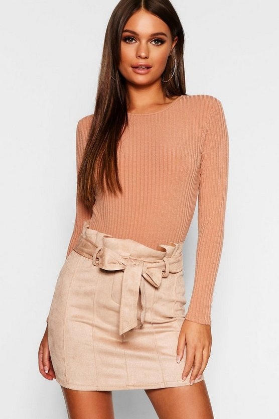 Stone Paperbag Belted Suedette Micro Mini Skirt