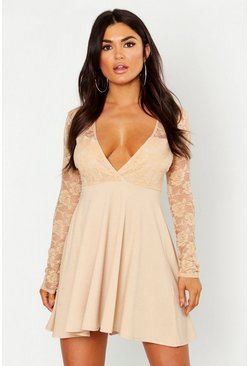 Womens Stone Long Sleeve Lace Top Skater Dress