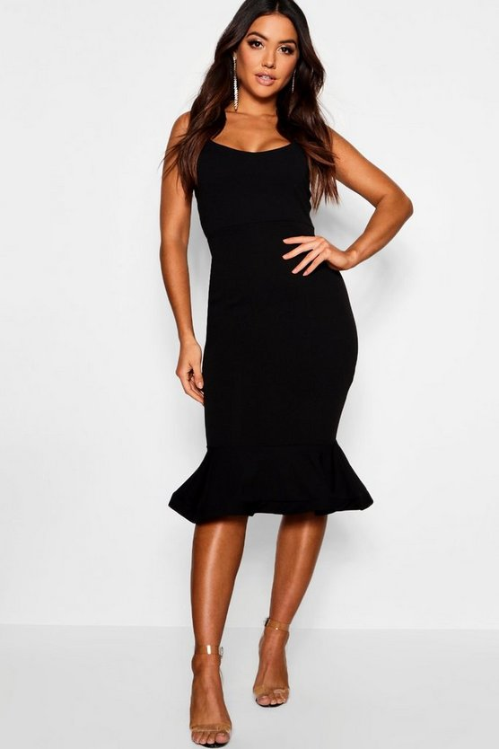 Womens Black Peplum Frill Hem Strappy Midi Dress