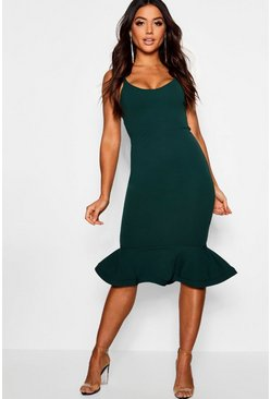 Womens Bottle green Peplum Frill Hem Strappy Midi Dress
