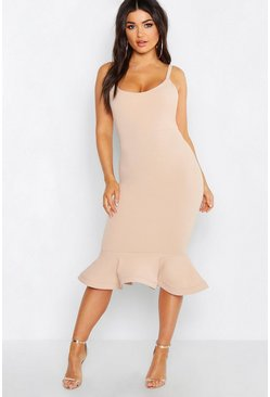 Womens Stone Peplum Frill Hem Strappy Midi Dress
