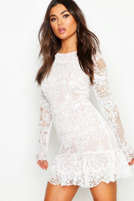 Corded Lace Frill Hem Mini Dress