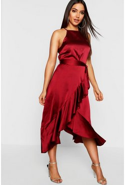 Berry Satin Frill Wrap Midi Dress