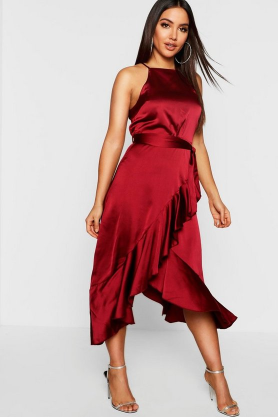 Satin Frill Wrap Midi Dress