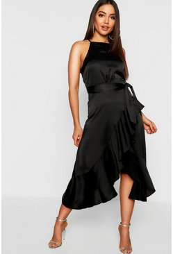 Black Satin Frill Wrap Midi Dress