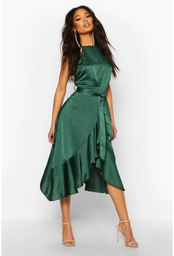 Womens Emerald Satin Frill Wrap Midi Dress