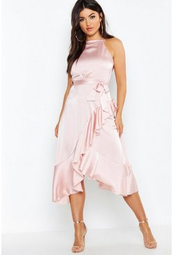 Womens Rose Satin Frill Wrap Midi Dress
