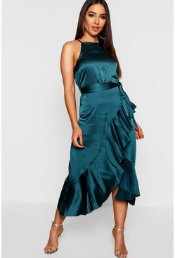 Teal Satin Frill Wrap Midi Dress