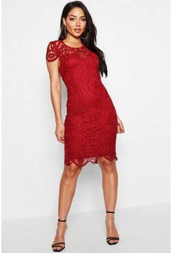 Womens Berry Lace Cap Sleeve Midi Dress