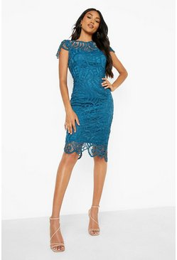 Womens Teal Lace Cap Sleeve Midi Dress