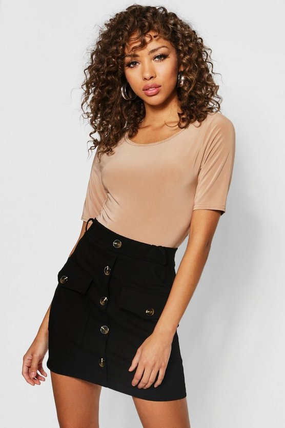 Womens Black Utility Pocket Horn Button Mini Skirt