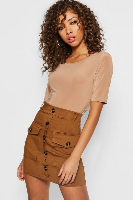 Utility Pocket Horn Button Mini Skirt